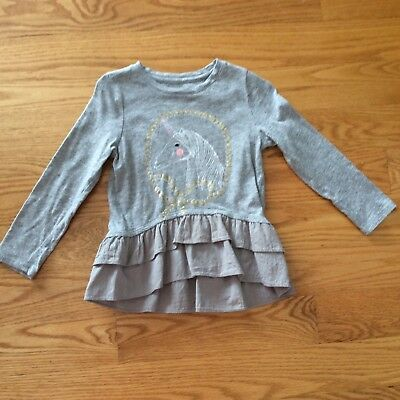 Egg Baby By Susan Lazar Girls 4 Long Sleeve Gray Top W/ Unicorn On Front
