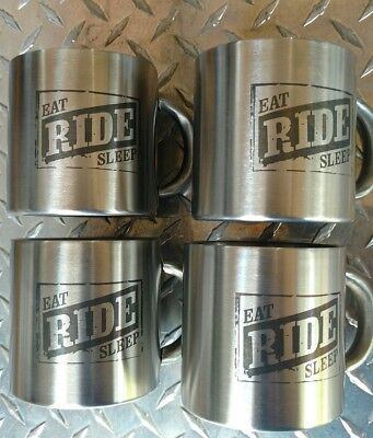 "Set of 4 Collector Marlboro ""Eat Ride Sleep"" Stainless Steel Biker Mugs"
