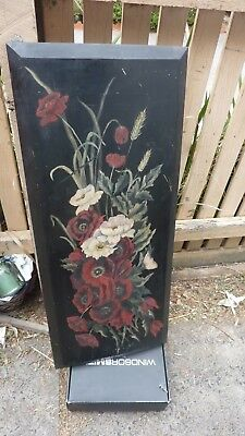 antique VICTORIAN wooden panel hand painted 19c