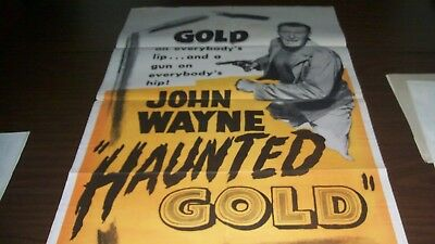 Amazing Vintage real movie film John Wayne One Sheet Movie Poster Haunted Gold