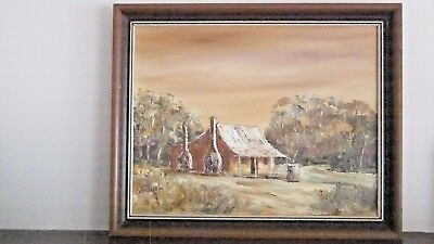 Antique picture of Old Miners Cottage in wooden frame.