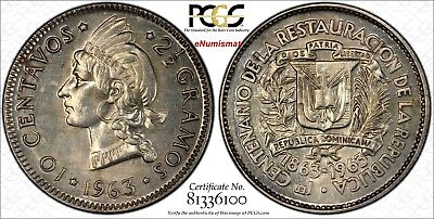 Dominican Republic 1963 10 Centavos PCGS SP63 8 examples known KM# 27 ex King's