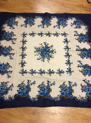 Vintage Pretty Blue Floral  Tablecloth