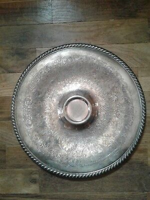 """Wm Rogers 12 3/8 """" Silver Plated Round Serving Tray #866 Nice Patina"""