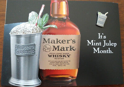 Makers Mark Metal Mint Julep Lapel, Hat, Tie Pin- 2018  BRAND NEW with Free Ship