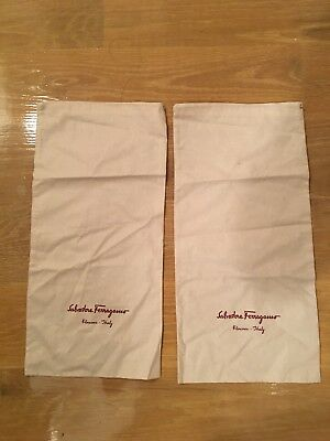"(2)Authentic Salvatore Ferragamo Dust Bags For Shoes  H:16.5""×W:8.5"" New."