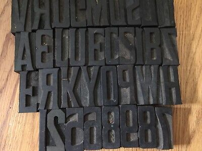 """LOT OF 35 ANTIQUE WOOD Block LETTERS  And Numbers  PRINTERS Press 2"""" Tall"""