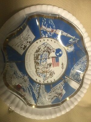 First Lunar Landing Of Mankind Commemorative  Glass Dish JFK SPACE CTR  1969