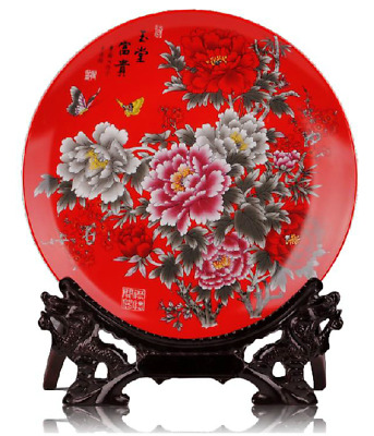 Chinese Jingdezhen Red Porcelain Hand Painted Peony Butterfly Plate