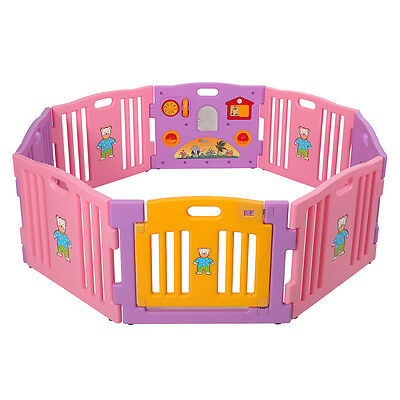 Baby Playpen 8 Panel Kids Safety Play Center Yard Home Indoor Outdoor Fence Pink
