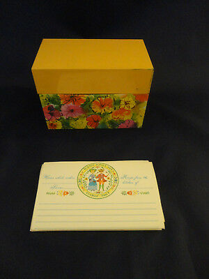 "Vintage ""BoHo""  Multi Color Floral Metal Recipe Box Ohio Art (616)"
