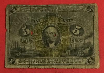 """1867 US Fractional Currency """"FIVE CENTS"""" Rough! Old US Paper Money Currency"""