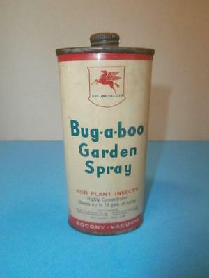 Vintage Socony Vacuum Mobil Oil Pegasus Bug A Boo Garden Spray Oil Can, Full