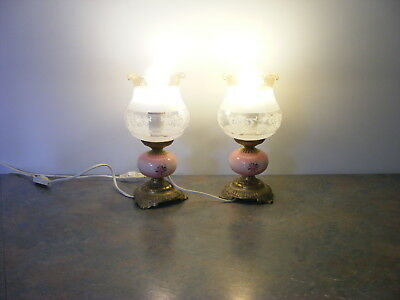 Pair Antique Vintage Brass Ceramic & Glass Table Lamps - Exc Cond.