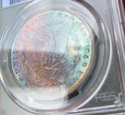 1886 1$ PCGS MS 65 Rainbow Color Tone Morgan Silver Dollar Mottled