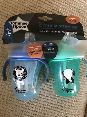 Brand NewTommee Tippee Trainer Sippee Cup 2 pack Green/blue 7 MONTHS+ 8floz