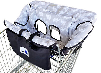 NEW Shopping Trolley Cart Cover & High Chair Cover MULTI USE - Grey Elephant