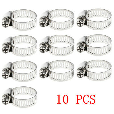 "10Pcs 3/8""-5/8"" 10mm-16mm Stainless Steel Drive Hose Clamp Fuel Line Worm Clip"