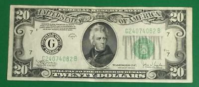 "1934C $20 Green Federal ""BIG G"" Chicago Choice VF X082 Old US Paper Currency"