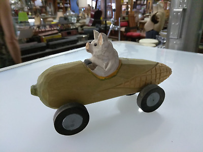 Pig In Wooden Corn Car