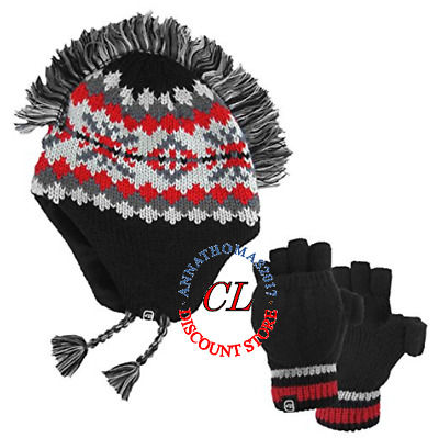 NEW Boy's Free Country Knit Set Winter Mohawk Flap Cap & Mitten Black - Size S/M