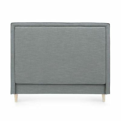 Bedhead Queen Size Linen Upholstered Headboard Wolf Grey Harris Piped Edge