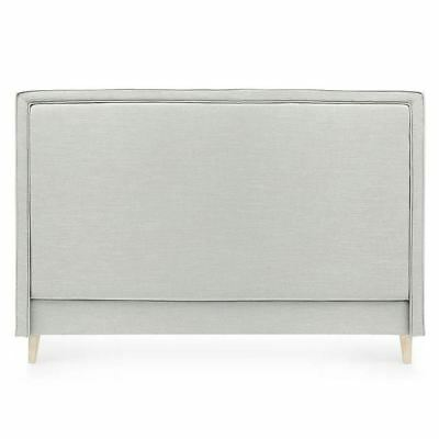 Bedhead King Size Linen Upholstered Headboard Taupe Harris Piped Edge