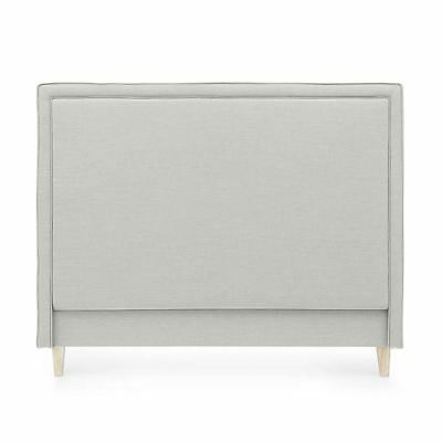 Bedhead Queen Size Linen Upholstered Headboard Taupe Harris Piped Edge