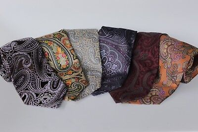 Lot Of 6 Paisley  Men's  Tie 100% Silk Made In Italy-China-Usa-Canada