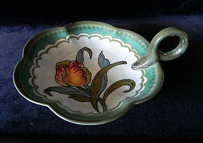 Vintage GOUDA ART POTTERY Tulip Scallop Dish ROYAL ZUID HOLLAND #3176 IRENE