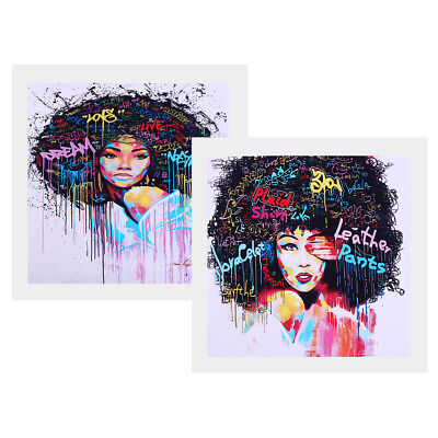 2 Panel Afro-hair Girl Canvas Print Painting Artwork Picture Home Decor