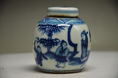 Exquisite Chinese Porcelain Handwork Painting People Tree Storage Tank