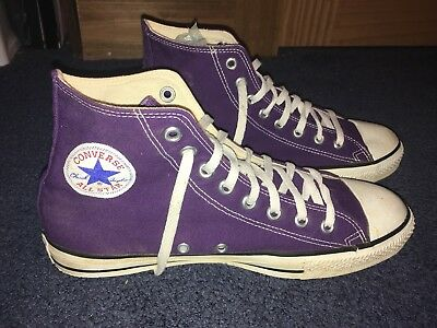 Vintage Converse Chuck Taylor Made In USA Purple High Top Men's Size 9