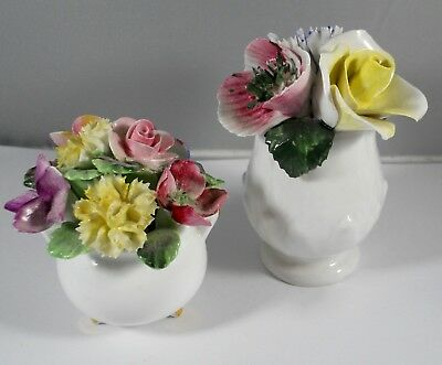 2 Bone China Miniature Floral Flower Vase Bouquet Crown Royal