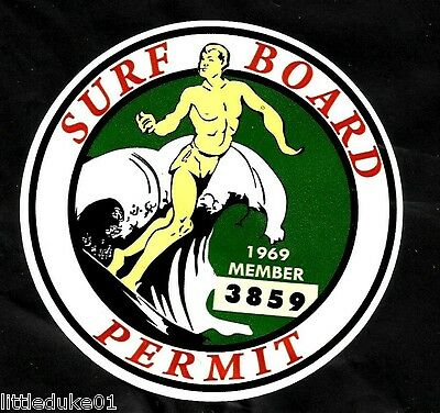 "1969 ""Surfboard Permit"" Sticker Decal LONGBOARD Vintage Surfing Memorabilia Surf"