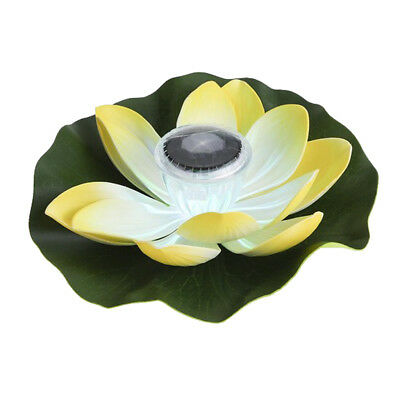 Solar LED Light 7 Color Changing Lamp Pond Pool Floating Flower Yellow Lotus