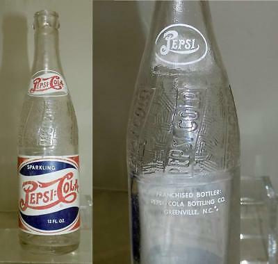 Vintage RWB Double Dot Pepsi Cola Soda Bottle Greenville NC 12 oz 1948