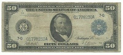 1914 $50.00 FR-1050 Federal Reserve Note  Chicago District.