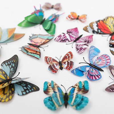 12Pcs 3D Butterfly Sticker Magnetic Glow in The Dark Decal for Party Kids Room H