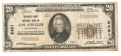 $20.00 Circulated 1929 NATIONAL BANK NOTE Los Angeles, CA.Type-1 Charter #2491