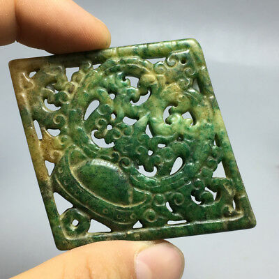 32g Old Chinese Exquisite Hand-carved  flower carvings green jade Pendan a4