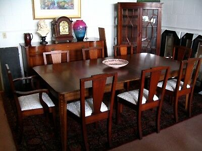 Antique Bell Flower Inlay Dining Room Set  Table 8 Chairs Credenza China Cabinet