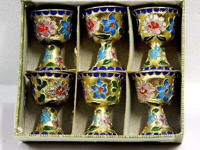 Rerto Beautifully Hand Painted Gilded Set Of 6 Cloisson Goblet