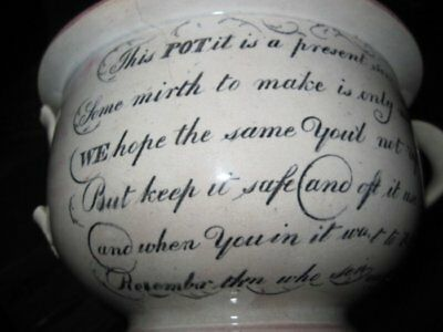 """Sunderland Pink Luster """"Low Humorous"""" Wedding Present Chamber Pot. Early 1800's"""