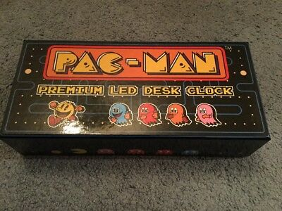 Pac-Man Premium LED Desk Clock By Raw Thrills New Mint Untouched