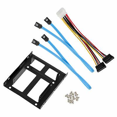 """2.5"""" Dual SSD to 3.5"""" Mount Bracket Hard Drive Holder + SATA Cables Y Power Cord"""