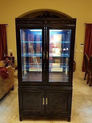"""Vintage Lighted Mohogany Display Case Hutch 1960's 76"""" Tall, 40"""" Wide."""