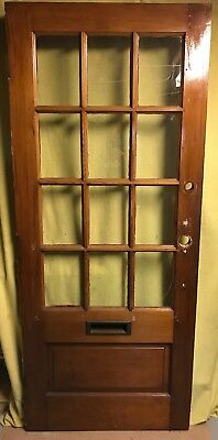Unique Antique Victorian Wood Exterior French Door /w 12 Pane Glass 34x81