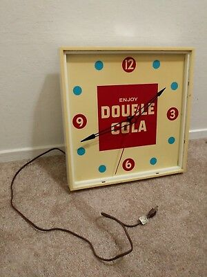Vintage 1960's Double Cola Soda Pop Advertising Lighted Clock Coca Cola Pepsi
