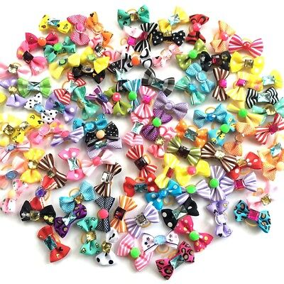 2PCS/LOT New puppy bow colorful design dog hair bow rubber bands pet hair rope